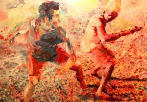 Amigos jogando capoeira