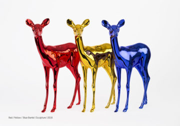 Red / Yellow / Blue Bambi Sculpture